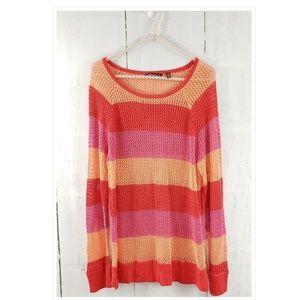525 America Stripe Pullover Mesh Sweater L